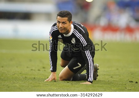 BARCELONA - MAY, 2015: Cristiano Ronaldo of Real Madrid during a Spanish League match against RCD Espanyol at the Power8 stadium on Maig 17 2015 in Barcelona Spain - stock photo