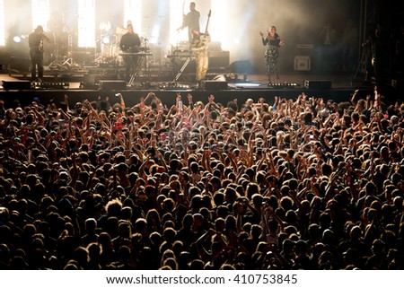 BARCELONA - MAY 28: Crowd in a concert at Primavera Sound 2015 Festival on May 28, 2015 in Barcelona, Spain. - stock photo