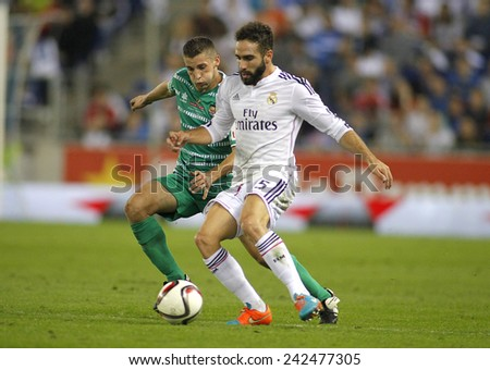 BARCELONA - MAY,11: Dani Carvajal of Real Madrid during the Spanish League match between Espanyol and Real Madrid at the Estadi Cornella on May 11, 2013 in Barcelona, Spain - stock photo