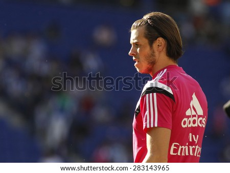 BARCELONA - MAY, 17: Gareth Bale of Real Madrid before a Spanish League match against RCD Espanyol at the Power8 stadium on Maig 17 2015 in Barcelona Spain - stock photo