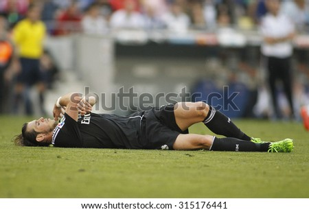 BARCELONA - MAY, 2015: Gareth Bale of Real Madrid during a Spanish League match against RCD Espanyol at the Power8 stadium on Maig 17 2015 in Barcelona Spain - stock photo