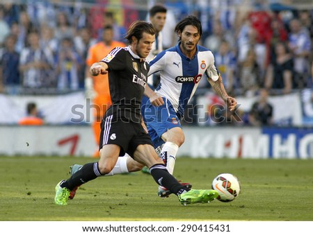 BARCELONA - MAY 17: Gareth Bale of Real Madrid during a Spanish League match against RCD Espanyol at the Power8 stadium on May 17 2015 in Barcelona, Spain - stock photo