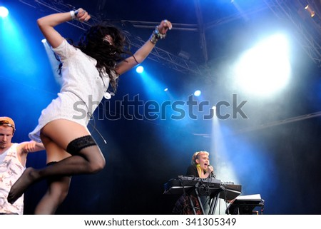 BARCELONA - MAY 31: Grimes (Canadian producer, artist, musician, singer and songwriter) concert at Primavera Sound Festival on May 31, 2012 in Barcelona, Spain. - stock photo