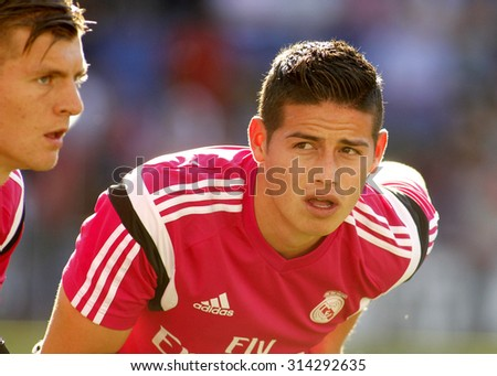 BARCELONA - MAY, 2015: James Rodriguez of Real Madrid of before a Spanish League match against RCD Espanyol at the Power8 stadium on Maig 17 2015 in Barcelona Spain - stock photo