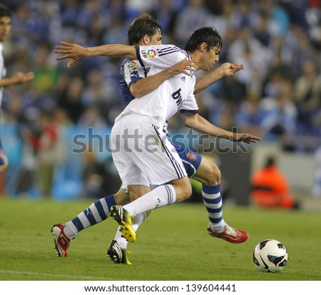 BARCELONA - MAY, 11: Kaka of Real Madrid during the Spanish League match between Espanyol and Real Madrid at the Estadi Cornella on May 11, 2013 in Barcelona, Spain