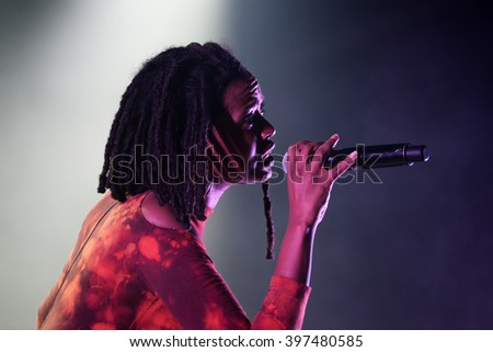 BARCELONA - MAY 28: Kelela (American singer) performs at Primavera Sound 2015 Festival on May 28, 2015 in Barcelona, Spain. - stock photo