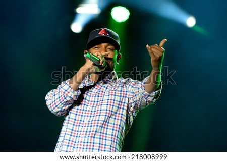 BARCELONA - MAY 30: Kendrick Lamar (American hip hop recording artist) performs at Heineken Primavera Sound 2014 Festival (PS14) on May 30, 2014 in Barcelona, Spain. - stock photo