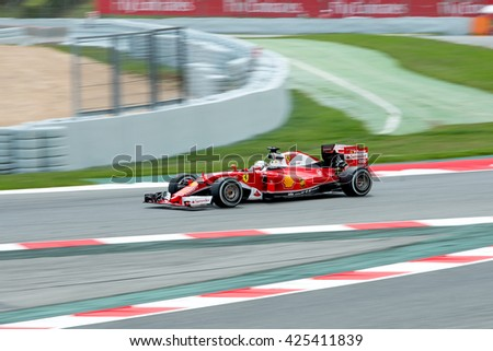 BARCELONA - MAY 13: Kimi Raikkonen  drives the Scuderia Ferrari car on track for the Spanish Formula One Grand Prix at Circuit de Catalunya on May 13, 2016 in Barcelona, Spain. - stock photo