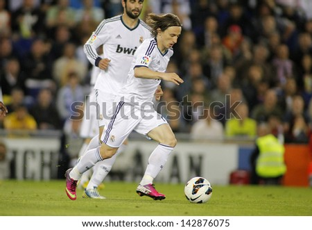 BARCELONA - MAY, 11: Luka Modric of Real Madrid during the Spanish League match between Espanyol and Real Madrid at the Estadi Cornella on May 11, 2013 in Barcelona, Spain - stock photo