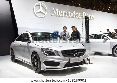 BARCELONA - MAY 17: Mercedes Benz CLA at Barcelona International Motor Show - Salon Internacional del Automovil, one of the five major shows in the world, on May 17, 2013, in Barcelona, Spain. - stock photo