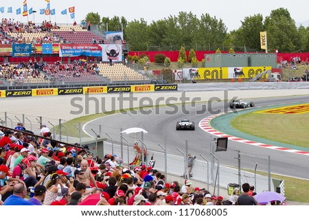 BARCELONA - MAY 12: Mercedes F1 cars racing at Qualifying Session of Formula One Spanish Grand Prix at Catalunya circuit, on May 12, 2012 in Barcelona, Spain. - stock photo