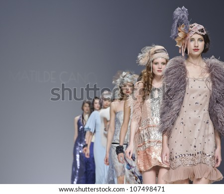 BARCELONA - MAY 10: Models walking on the Matilde Cano catwalk during the Barcelona Bridal Week runway on May 10, 2012 in Barcelona, Spain. - stock photo