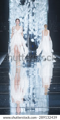 BARCELONA - MAY 06: models walking on the Yolancris bridal collection 2016 catwalk during the Barcelona Bridal Week runway on May 06, 2015 in Barcelona, Spain.  - stock photo