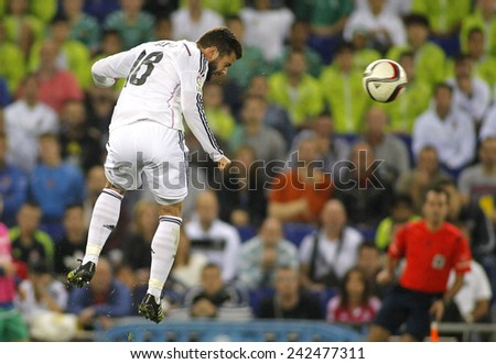 BARCELONA - MAY,11: Nacho Fernandez Iglesias of Real Madrid during the Spanish League match between Espanyol and Real Madrid at the Estadi Cornella on May 11, 2013 in Barcelona, Spain - stock photo
