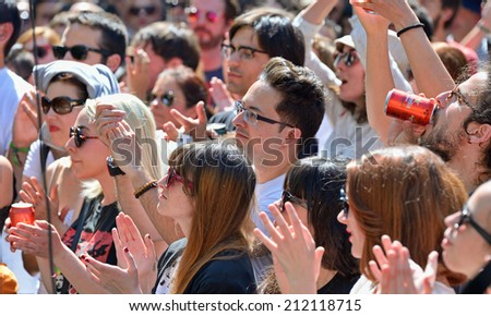 BARCELONA - MAY 30: People from the audience watching a concert at Heineken Primavera Sound 2014 Festival (PS14) on May 30, 2014 in Barcelona, Spain. - stock photo