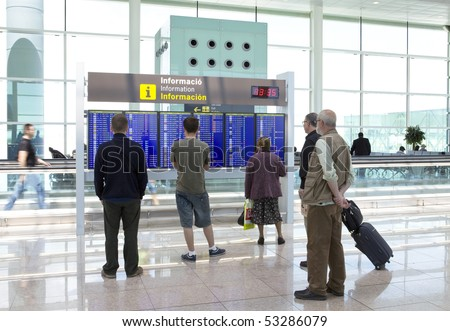 BARCELONA - MAY 9: People wait for flight on May 9, 2010 in Barcelona, Spain. Flights are canceled because of volcanic eruption. - stock photo