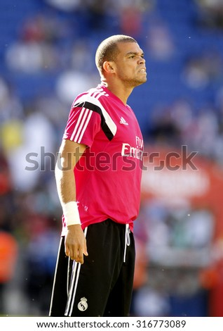 BARCELONA - MAY, 17: Pepe Lima of Real Madrid before a Spanish League match against RCD Espanyol at the Power8 stadium on Maig 17 2015 in Barcelona Spain - stock photo