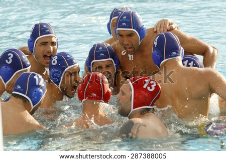 BARCELONA - MAY, 29: Pro Recco team waterpolo players before a LEN Champions League Final Six match against  Atletic Barceloneta at the Picornell Swimming pool on May 29 2015 in Barcelona Spain - stock photo
