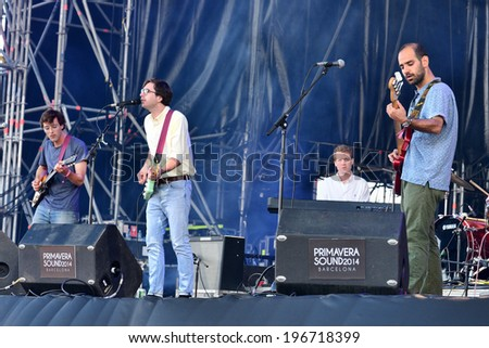 BARCELONA - MAY 29: Real Estate (American indie rock and dream pop band) performs at Heineken Primavera Sound 2014 Festival (PS14) on May 29, 2014 in Barcelona, Spain. - stock photo