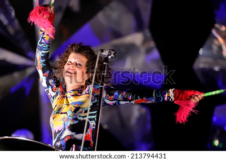 BARCELONA - MAY 29: Regine Chassagne, musician and singer member of the band Arcade Fire, performs at Heineken Primavera Sound 2014 Festival (PS14) on May 29, 2014 in Barcelona, Spain. - stock photo