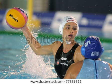BARCELONA - MAY 15: Rita Dravucz of Hungary during the City of Barcelona Trophy waterpolo match between Hungary and Greece at the UE Horta pool on May 15, 2011 in Barcelona, Spain - stock photo