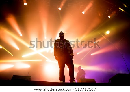 BARCELONA - MAY 29: Run the Jewels (hip hop band) performs at Primavera Sound 2015 Festival on May 29, 2015 in Barcelona, Spain. - stock photo