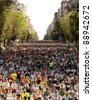 BARCELONA - MAY, 6: Runners on Cursa de El Corte Ingles, the second most popular race in the world, on Barcelona streets on May 6, 2007 in Barcelona, Spain - stock photo
