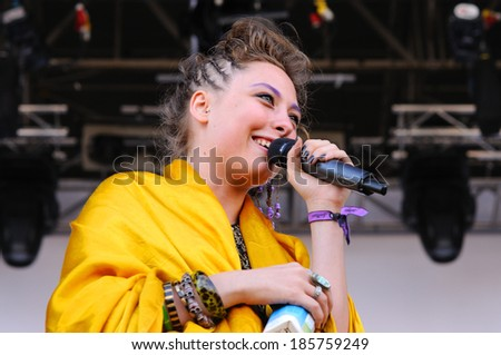 BARCELONA - MAY 31: Samantha Urbani, singer of the American band Friends, performs at San Miguel Primavera Sound Festival on May 31, 2012 in Barcelona, Spain.