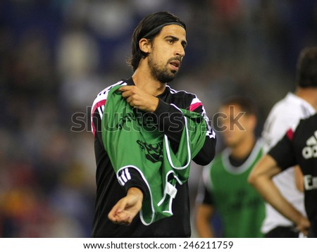 BARCELONA - MAY,11: Sami Khedira of Real Madrid during the Spanish Kings Cup match against UE Cornella at the Estadi Cornella on May 11, 2014 in Barcelona, Spain - stock photo
