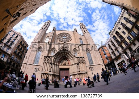 BARCELONA - MAY 4: Santa Maria del Mar, an imposing church in the Ribera district on May 4, 2013 in Barcelona, Spain. Purity and unity of style that are very unusual in large mediaeval buildings. - stock photo