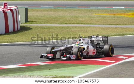 BARCELONA - MAY 12: Sergio Perez of Sauber F1 team racing at Qualifying Session of Formula One Spanish Grand Prix at Catalunya circuit, on May 12, 2012 in Barcelona, Spain.