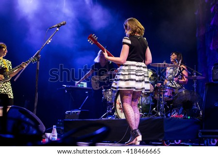 BARCELONA - MAY 29: Sleater Kinney (band) in concert at Primavera Sound 2015 Festival on May 29, 2015 in Barcelona, Spain.