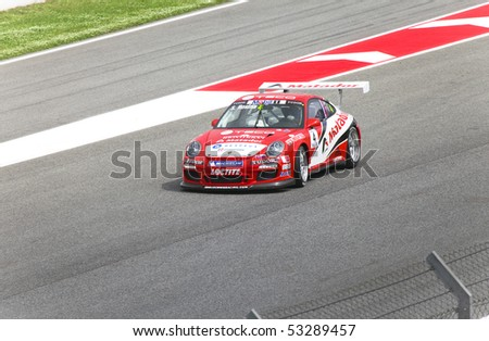 "BARCELONA - MAY 9:Stefan Rosina of   Lechner Racing in action during Porsche Mobil 1 Supercup at autodrome ""Catalunya Montmello"" on May 9, 2010 in Barcelona.  Rosina finished  8. - stock photo"