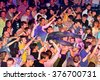 BARCELONA - MAY 30: The audience crowd surfing (also known as mosh pit) at Heineken Primavera Sound 2014 Festival on May 30, 2014 in Barcelona, Spain. - stock photo