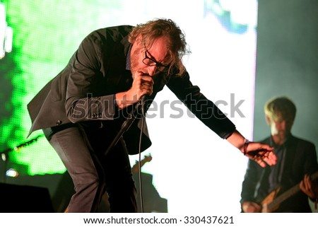 BARCELONA - MAY 30: The National (American indie rock band) in concert at Heineken Primavera Sound 2014 Festival (PS14) on May 30, 2014 in Barcelona, Spain. - stock photo