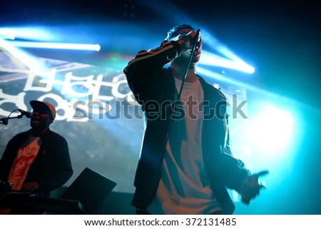 BARCELONA - MAY 26: The singer of Ratking (hip hop band) performs at Apolo stage Primavera Sound 2015 Festival (PS15) on May 26, 2015 in Barcelona, Spain.
