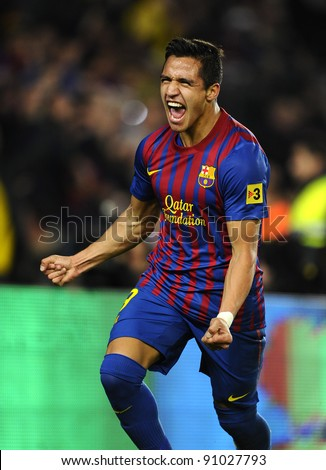 BARCELONA - NOV, 29: Alexis Sanchez of FC Barcelona celebrates goal during the spanish league match against Rayo Vallecano at the Nou Camp Stadium on November 29, 2011 in Barcelona, Spain - stock photo