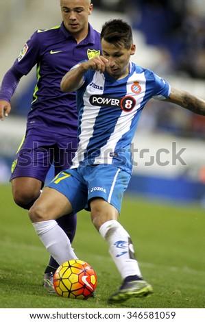 BARCELONA - NOV, 21: Hernan Perez of RCD Espanyol during a Spanish League match against Malaga CF at the Power8 stadium on November 21 2015 in Barcelona Spain - stock photo