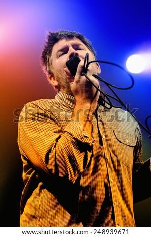 BARCELONA - NOV 6: James Murphy, frontman of LCD Soundsystem, performs at Discotheque Razzmatazz on November 6, 2010 in Barcelona, Spain. Razzmatazz celebrates his 10th anniversary. - stock photo