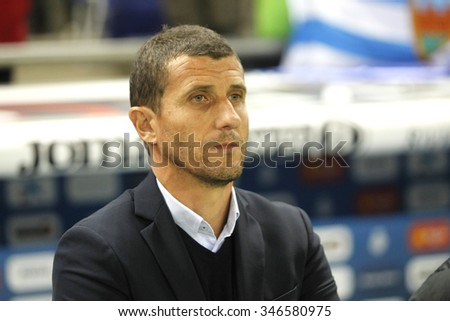 BARCELONA - NOV, 21: Javi Gracia manager of Malaga CF during a Spanish League match against RCD Espanyol at the Power8 stadium on November 21 2015 in Barcelona Spain - stock photo