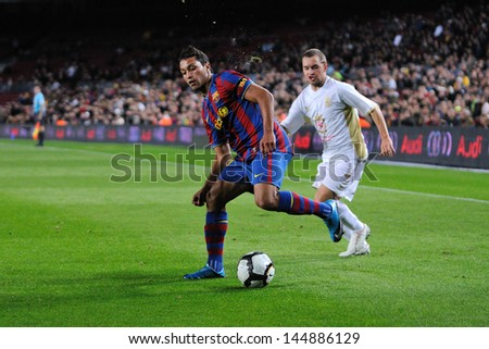 BARCELONA - NOV 10: Jeffren Suarez, F.C Barcelona player, plays against Cultural Leonesa at the Camp Nou Stadium on the Spanish Cup (Copa del Rey) on November 10, 2009 in Barcelona, Spain. - stock photo