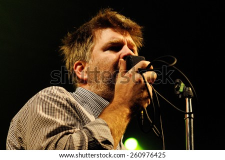 BARCELONA - NOV 6: LCD Soundsystem (band) performs at Discotheque Razzmatazz on November 6, 2010 in Barcelona, Spain. - stock photo