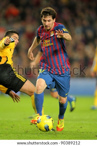 BARCELONA - NOV, 19: Leo Messi of FC Barcelona during the spanish league match against Real Zaragoza at the Nou Camp Stadium on November 19, 2011 in Barcelona, Spain - stock photo