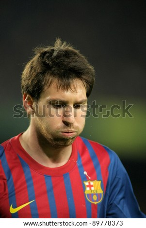 BARCELONA - NOV 19: Leo Messi of FC Barcelona during the spanish league match against Real Zaragoza at the Nou Camp Stadium on November 19, 2011 in Barcelona, Spain - stock photo