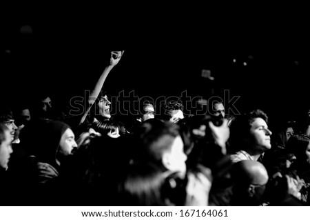 BARCELONA - NOV 30: People watching the concert of Wavves band at Make Noise Festival on Apolo stage on November 30, 2013 in Barcelona, Spain. - stock photo