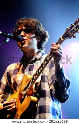 BARCELONA - NOV 13: Vampire Weekend (band) performs at Discotheque Razzmatazz on November 13, 2010 in Barcelona, Spain. - stock photo
