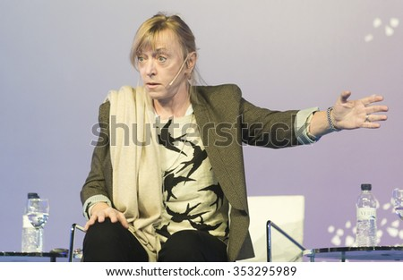 BARCELONA - NOVEMBER 15: Nobel Peace Prize in 1997 Jody Williams speaking at the 15th World Summit of Nobel Peace Laureates on November 15, 2015, Barcelona, Spain. - stock photo