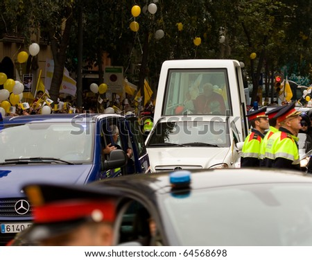 BARCELONA - NOVEMBER 7: Pope Benedict XVI (Joseph Alois Ratzinger) in Barcelona to consecrate the Sagrada Familia church. November 7, 2010 in Barcelona, Spain. - stock photo
