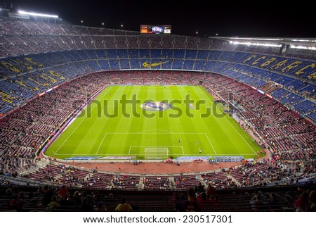 BARCELONA - NOVEMBER 1: View of Camp Nou stadium by night before the Spanish League match between FC Barcelona and Celta de Vigo, final score 0-1, on November 1, 2014, in Barcelona, Spain.