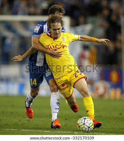 BARCELONA - OCT, 3: Alen Halilovic of Sporting Gijon during a Spanish League match against RCD Espanyol at the Power8 stadium on October 3 2015 in Barcelona Spain - stock photo